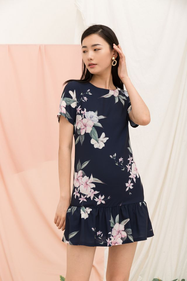 Braedynn Floral Dropwaist Dress in Navy