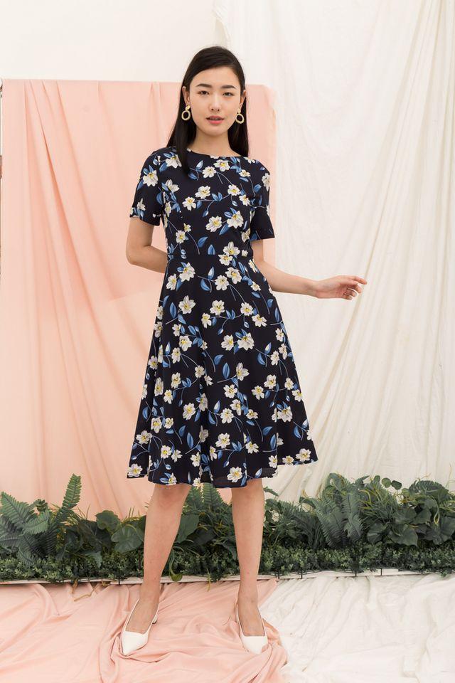Laurentina Floral Flare Midi Dress