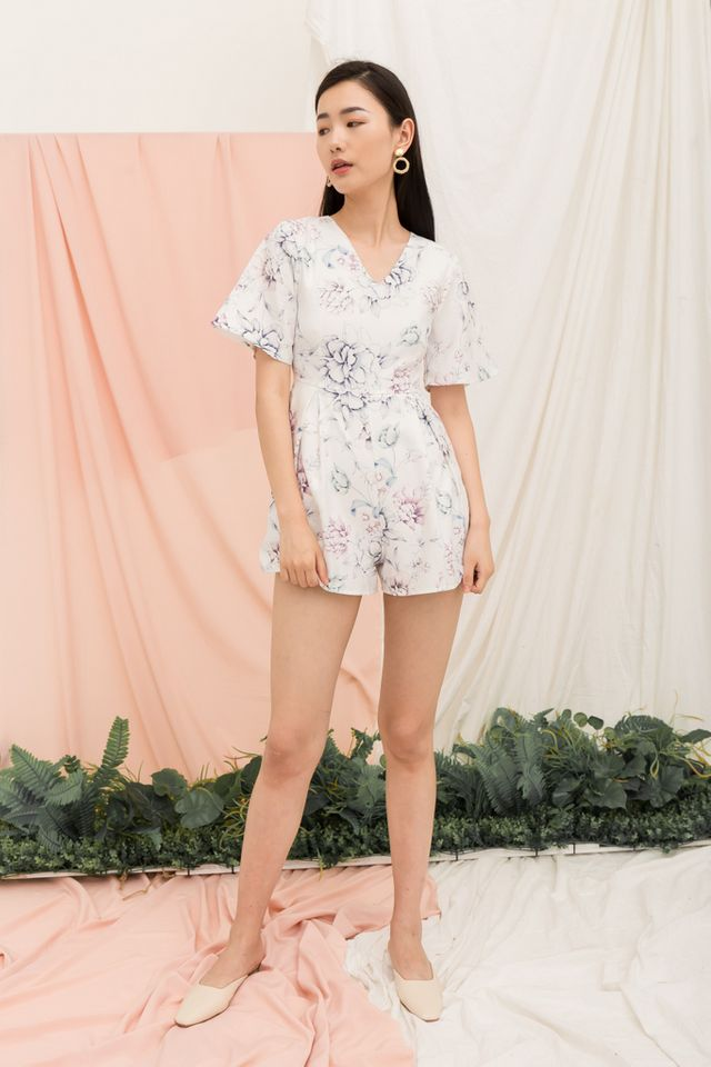 Clare Floral Pleated Romper in White