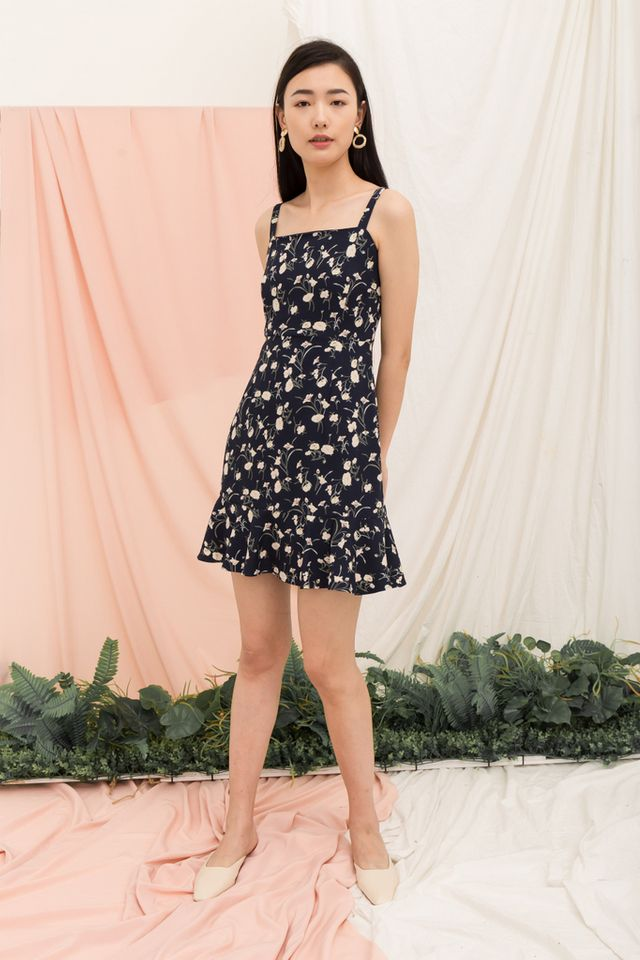 Ardelle Floral Ruffles Dress in Navy
