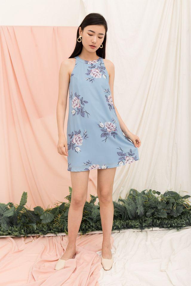 Zelenia Floral Halter Neck Dress in Ash Blue