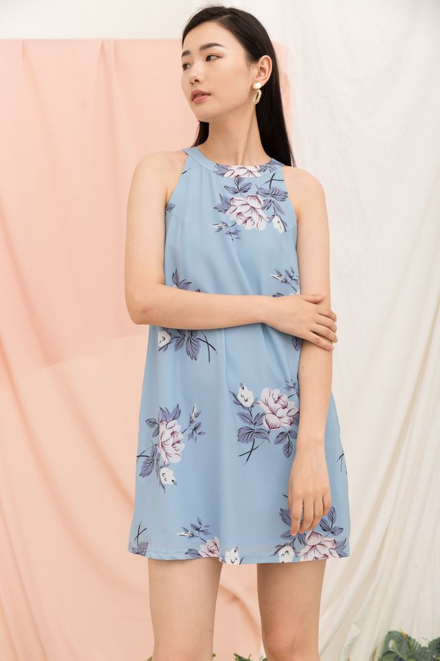 Zelenia Floral Halter Neck Dress in Ash Blue