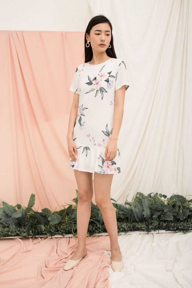 Braedynn Floral Dropwaist Dress in White
