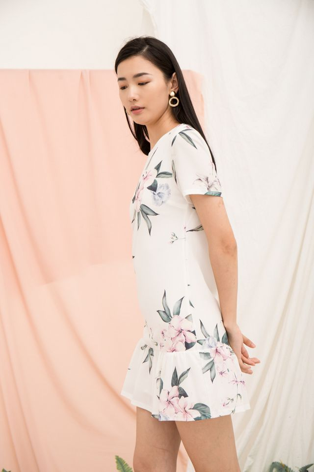 Braedynn Floral Dropwaist Dress in White (XL)