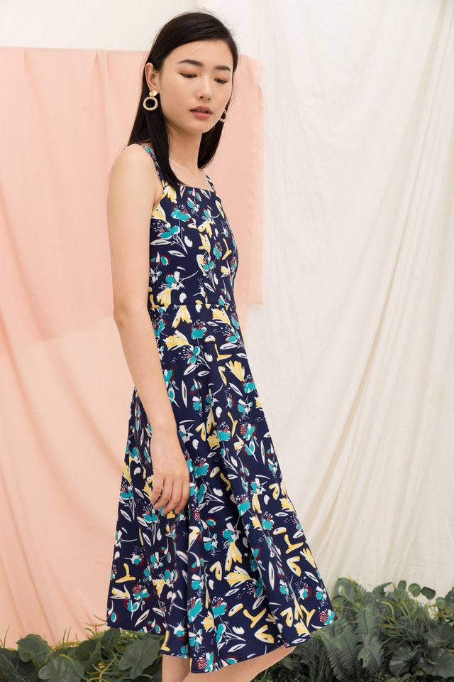 Claudalie Floral Midi Dress in Navy