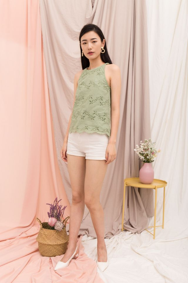Austra Eyelet Halter Top in Sage