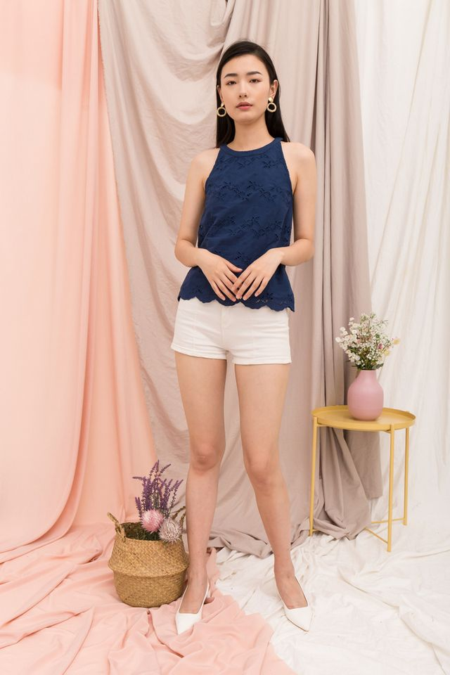 Austra Eyelet Halter Top in Navy (XS)