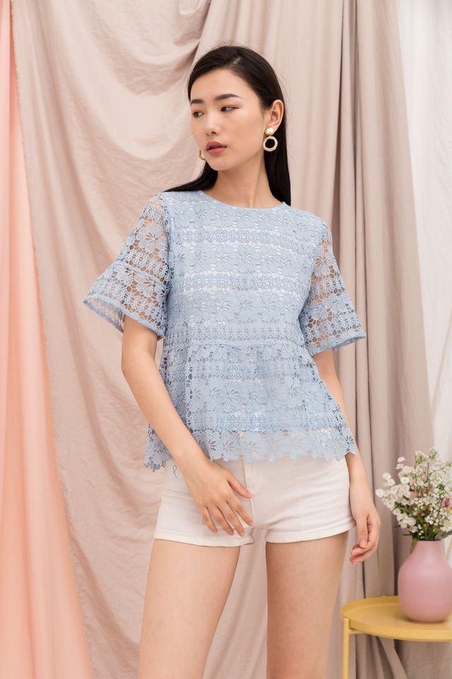 Marciana Crochet Babydoll Top in Powder Blue (XS)