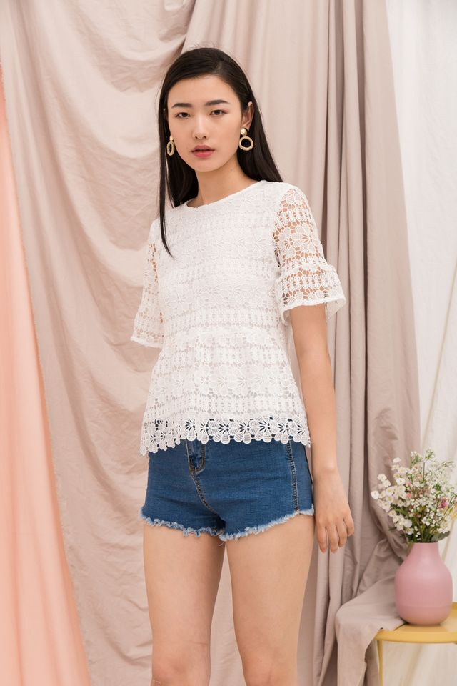 Marciana Crochet Babydoll Top in White (XS)