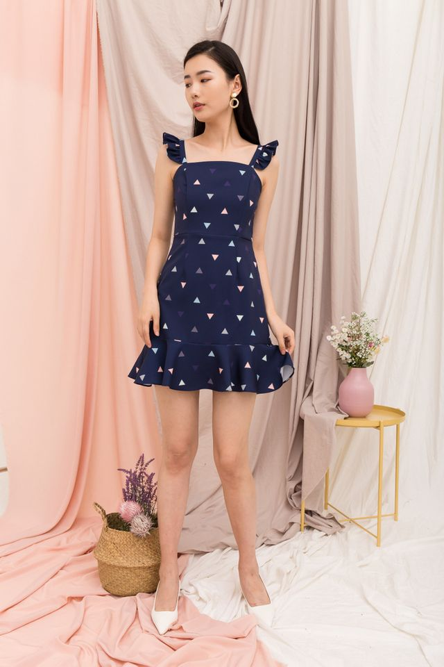 Amaryllis Triangle Ruffles Dress in Navy