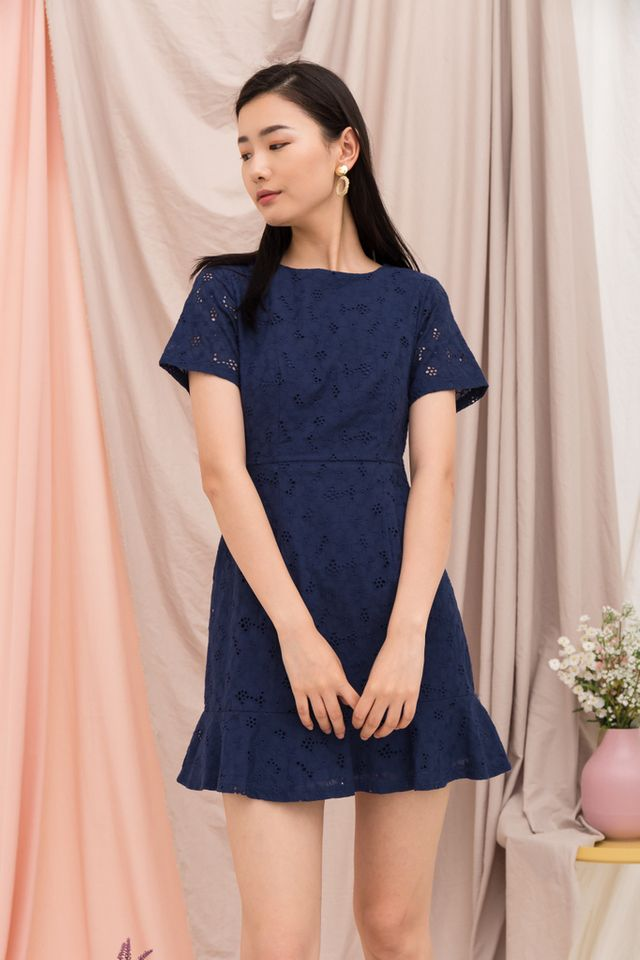 Lamarre Floral Eyelet Dress in Navy