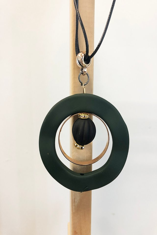 Abstract Hoop Necklace in Teal with Gold Accents