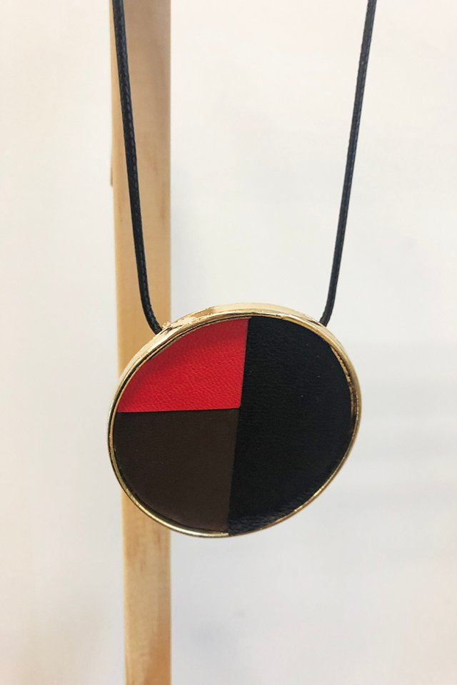 Gold Disk Necklace with Colourblock Details