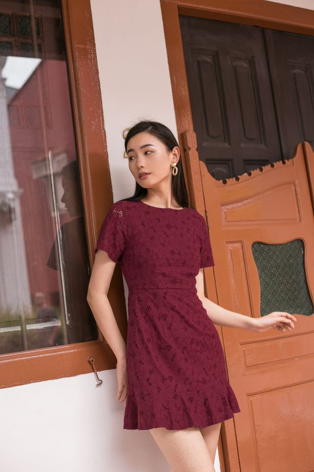 Lamarre Floral Eyelet Dress in Plum
