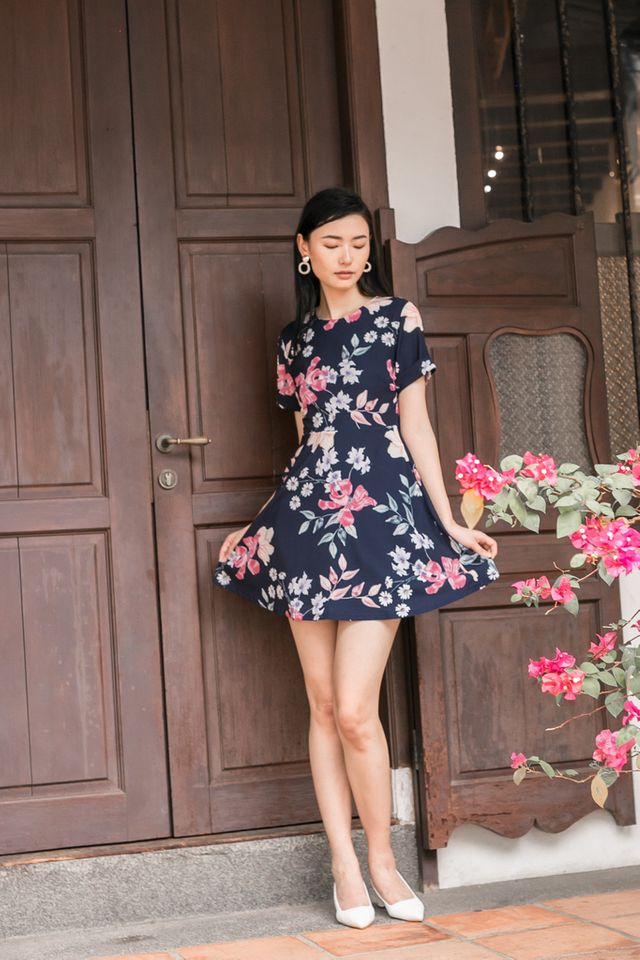 Lynzy Floral Skater Dress in Navy