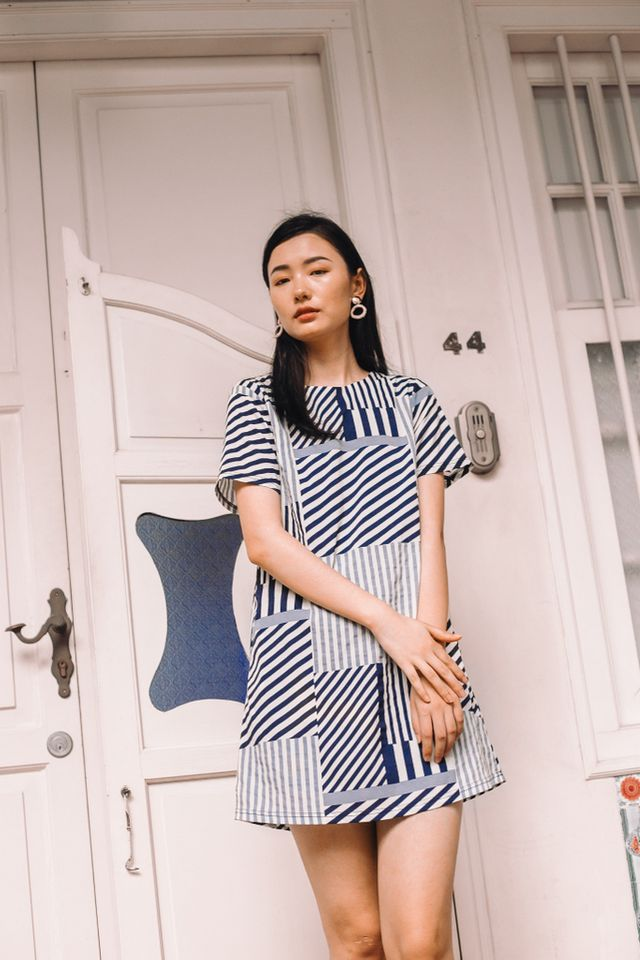 Aideen Striped Shift Dress (XS)