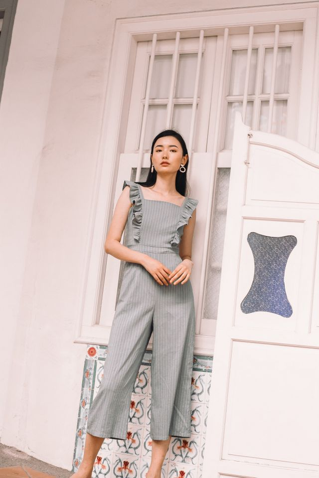 Arlenis Striped Ruffle Jumpsuit in Sage