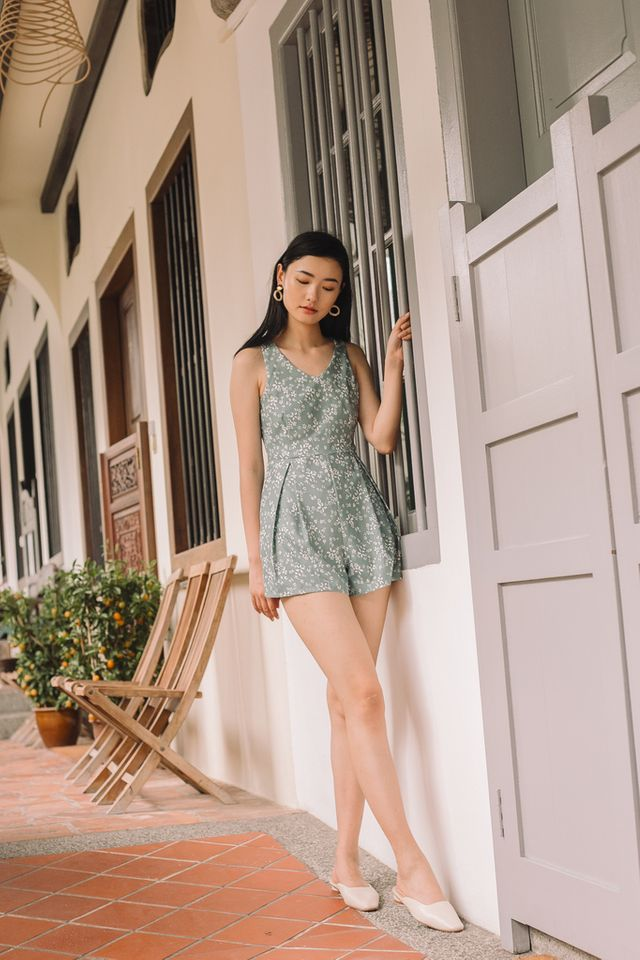 Wynne Foliage Romper in Sage
