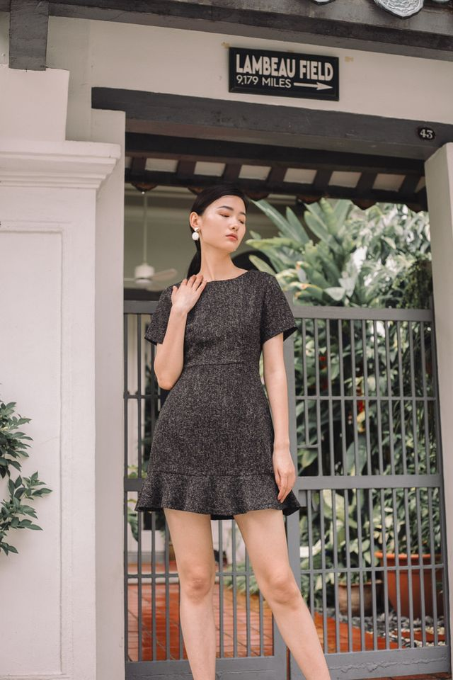 Reeva Tweed Skater Dress in Black