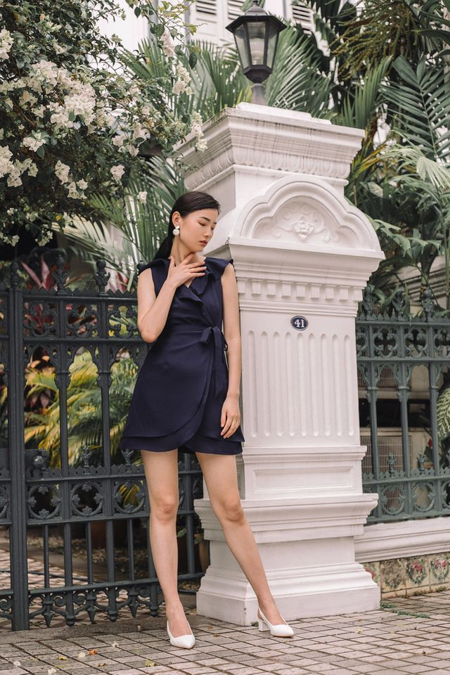 Odelle Ruffles Petal Dress in Navy