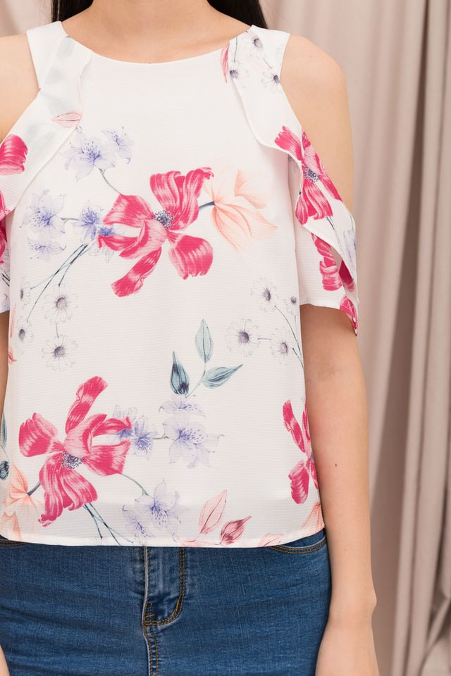 Acacia Floral Cold Shoulder Top in White