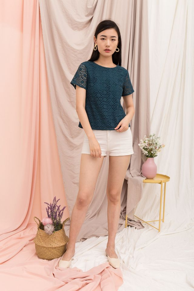 Orleanna Eyelet Top in Teal