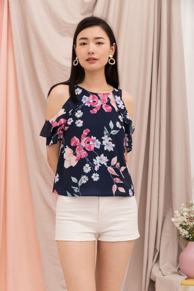 Acacia Floral Cold Shoulder Top in Navy