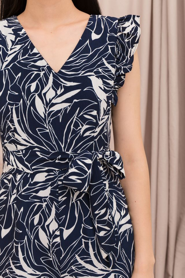 Elleonor Printed Ruffles Romper in Navy (XS)