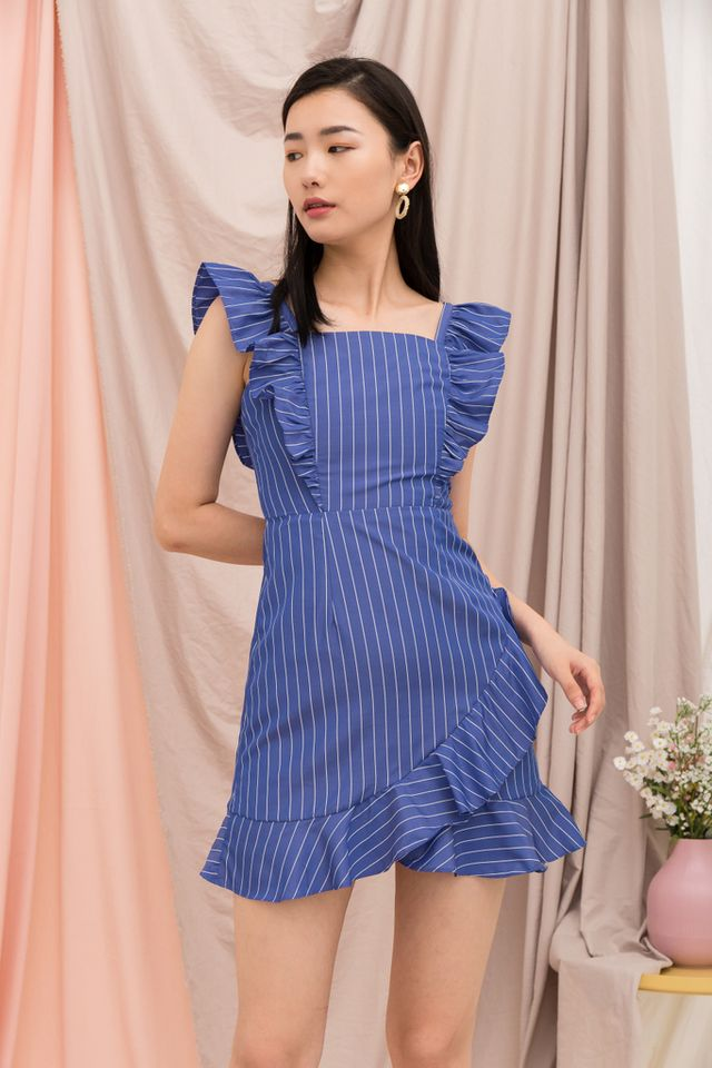 Amarli Striped Ruffles Dress in Blue