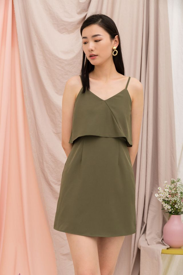 Xera Layered Dress in Olive