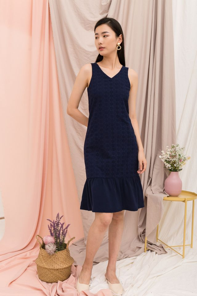 Gavriella Eyelet Embroidery Dress in Navy