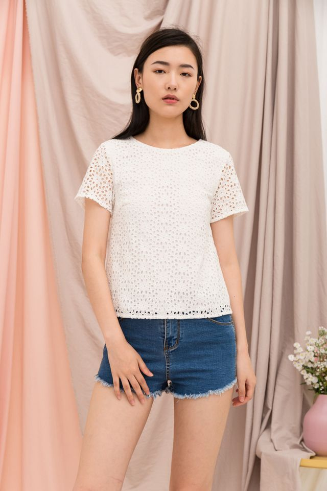 Orleanna Eyelet Top in White