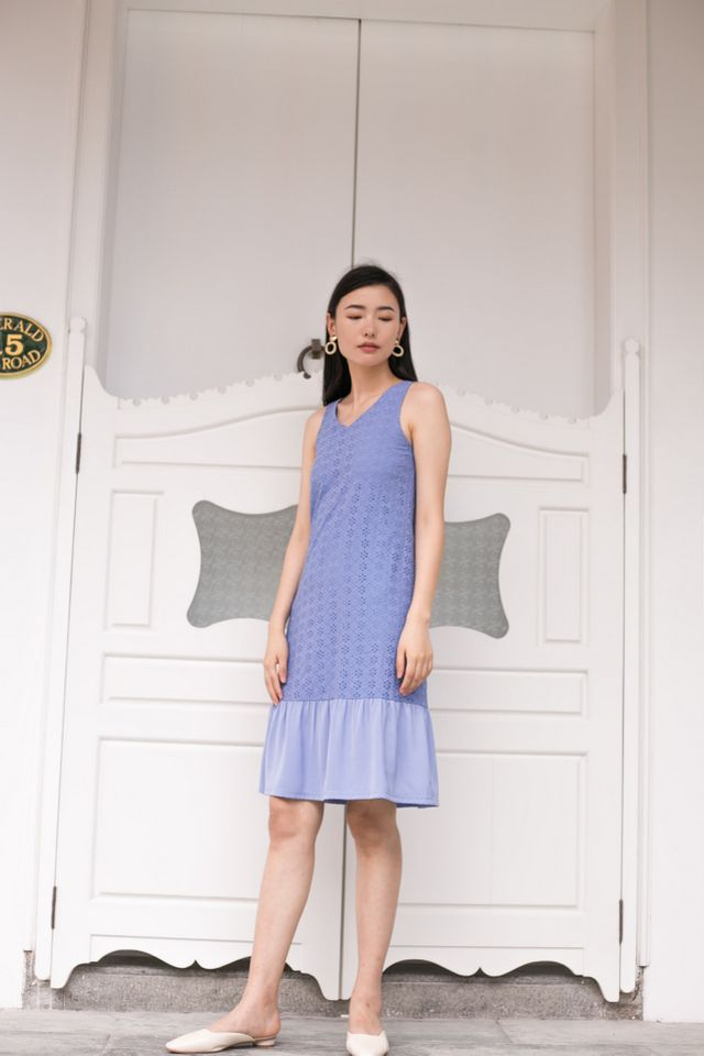 Gavriella Eyelet Embroidery Dress in Cornflower Blue
