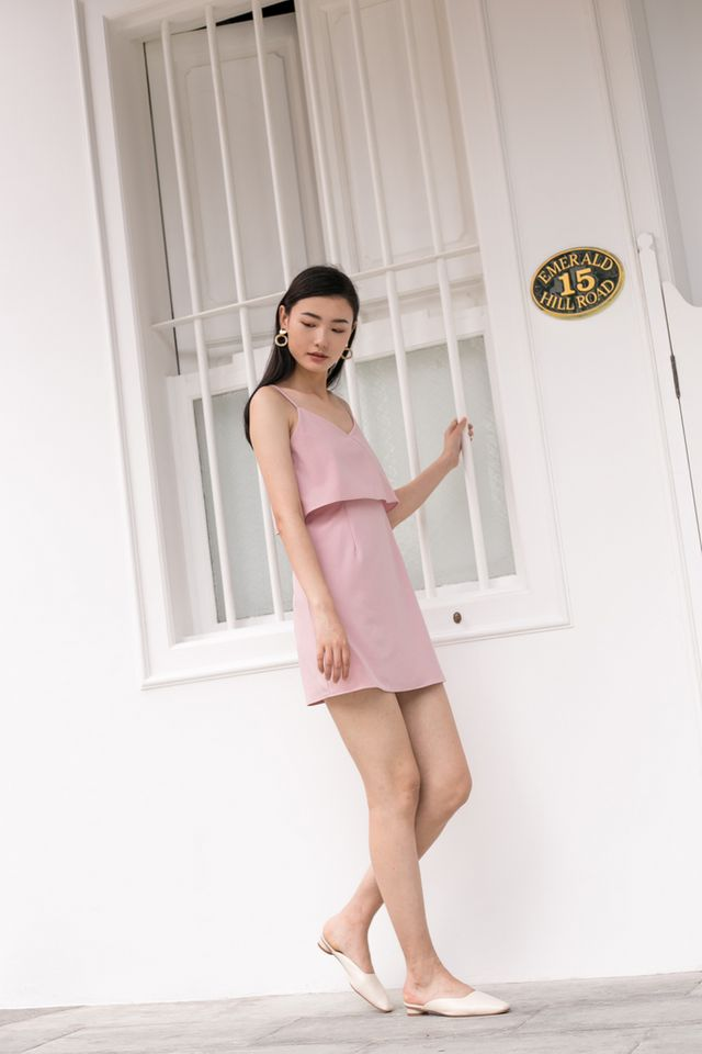 Xera Layered Dress in Dusty Pink
