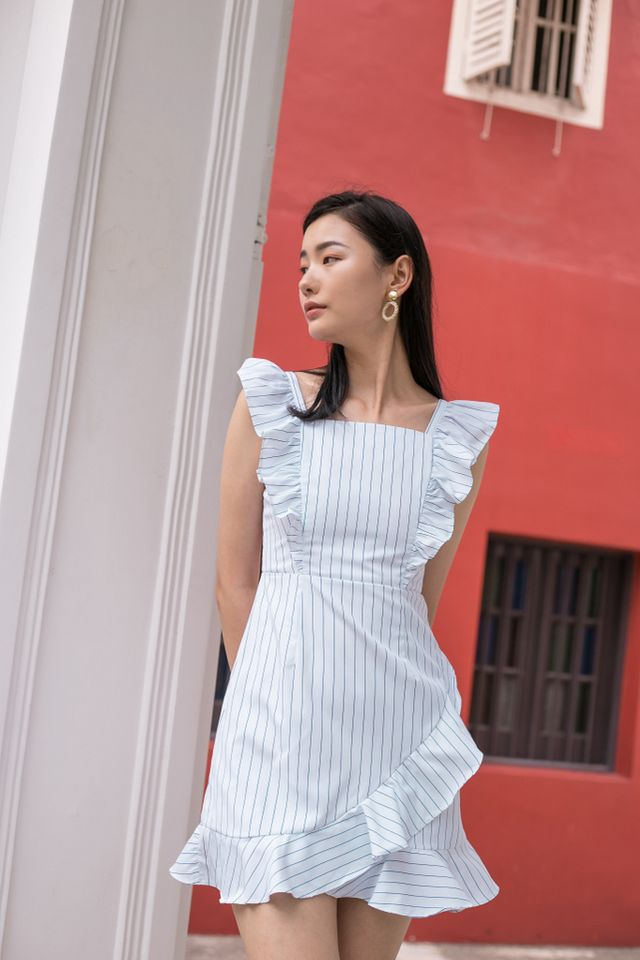 Amarli Striped Ruffles Dress in White