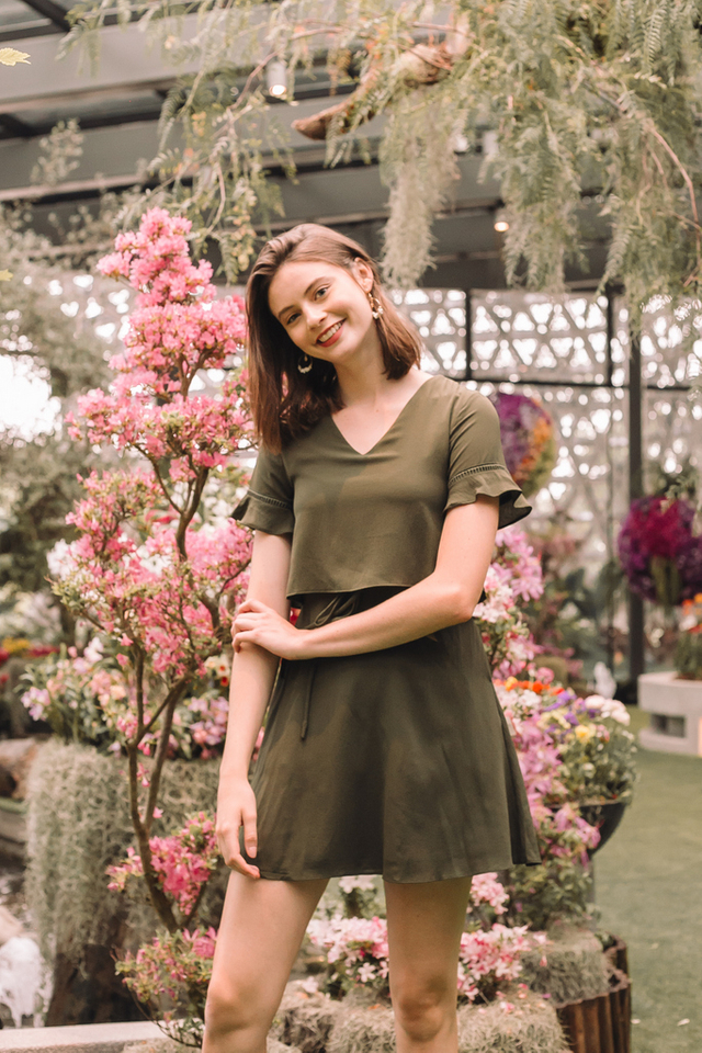 Madison Layered Skater Dress in Olive