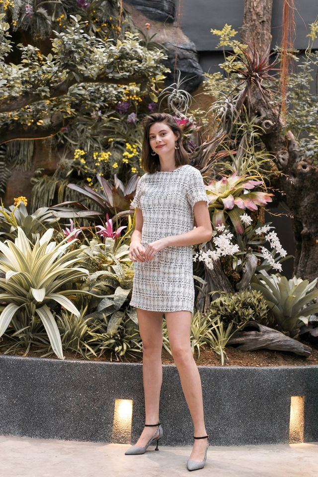 Valetta Tweed Shift Dress in White