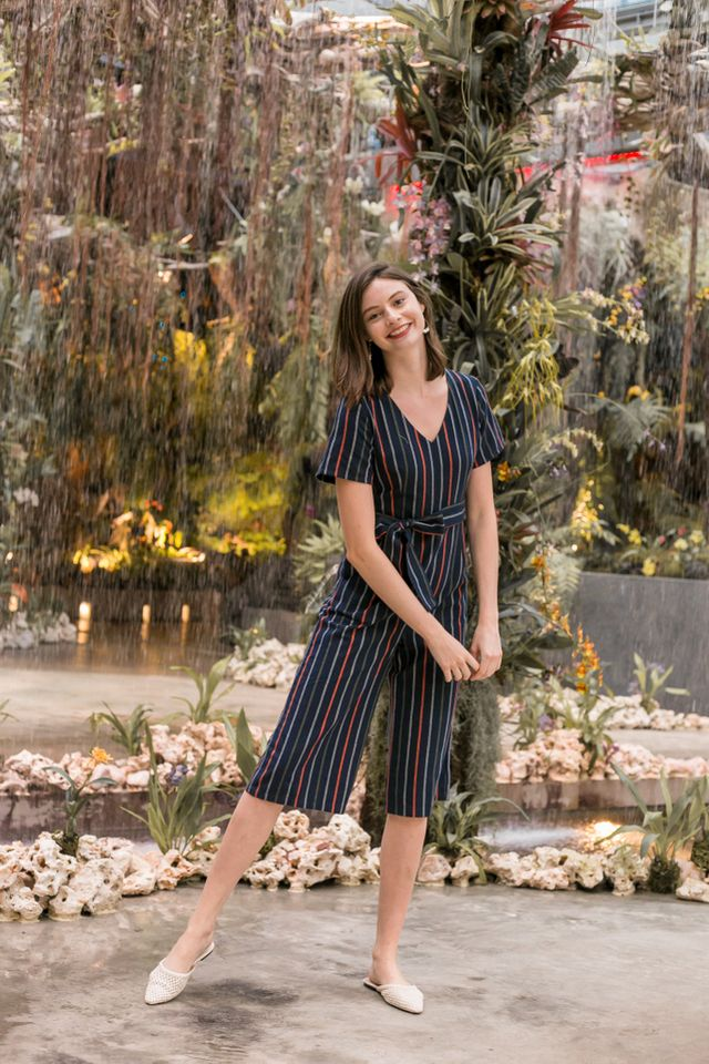 Talya Striped Wide Leg Jumpsuit (XL)