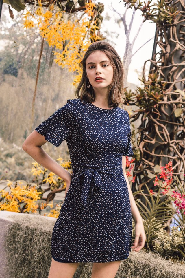 Kathleen Printed Flutter Sleeve Dress in Navy