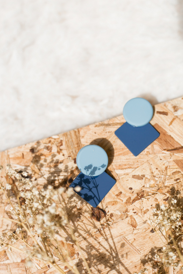 Chesire Geometric Earrings in Blue