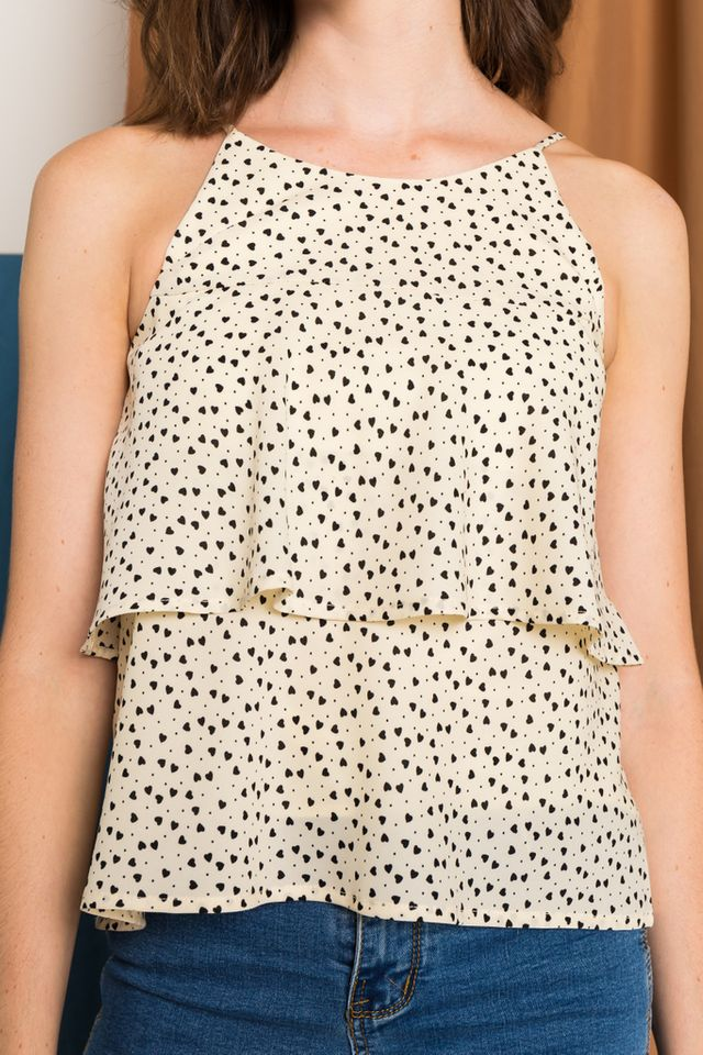 Shelby Heart Halter Top in Cream