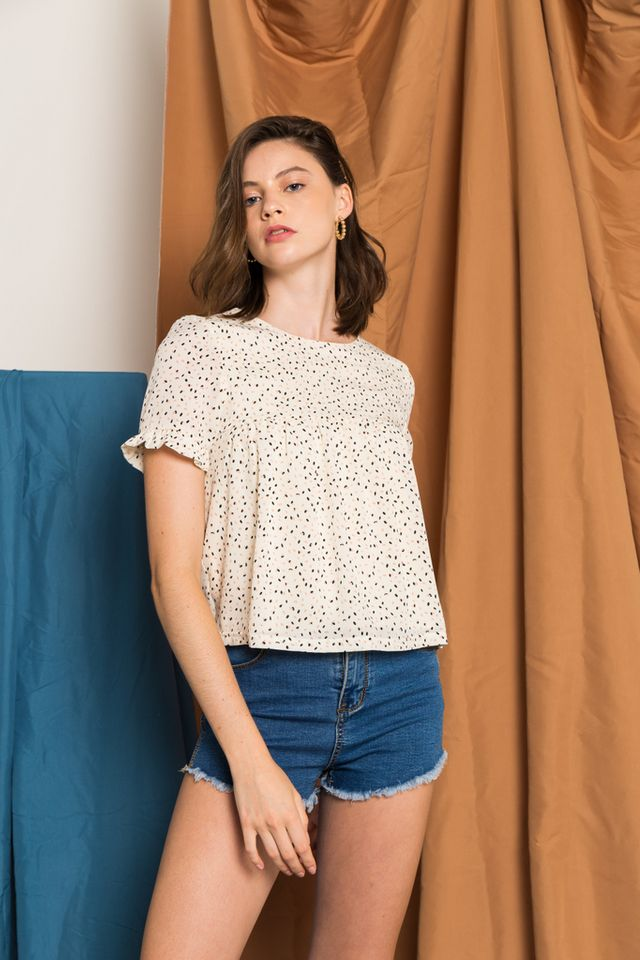 Cady Printed Babydoll Top in Cream
