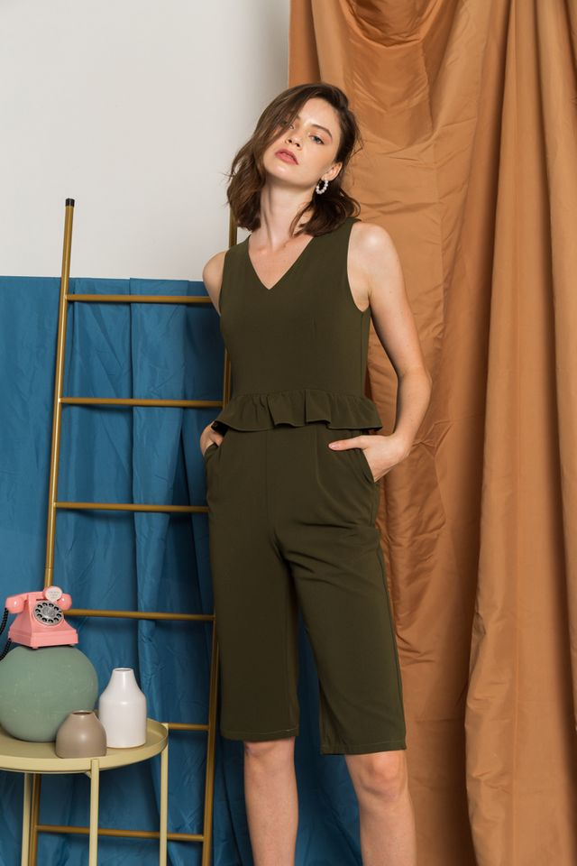 Maryam Ruffles Jumpsuit in Olive