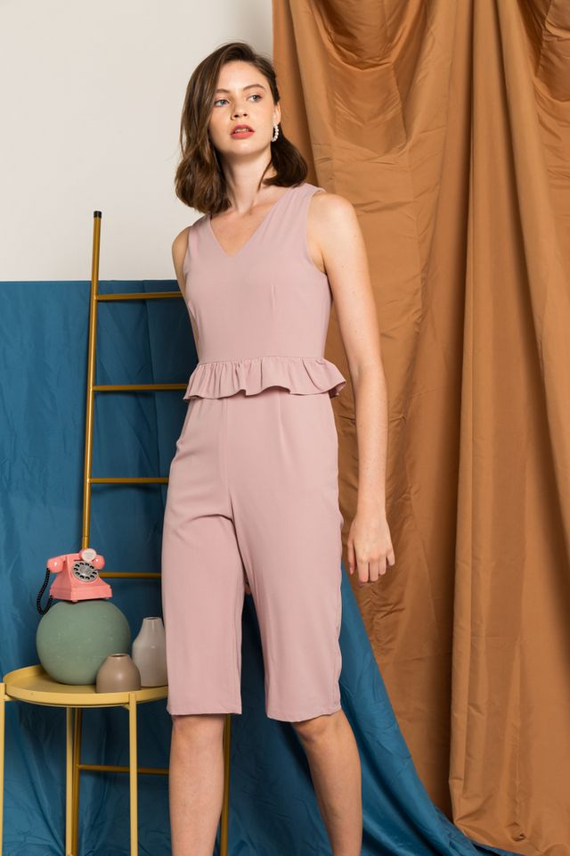 Maryam Ruffles Jumpsuit in Dusty Pink