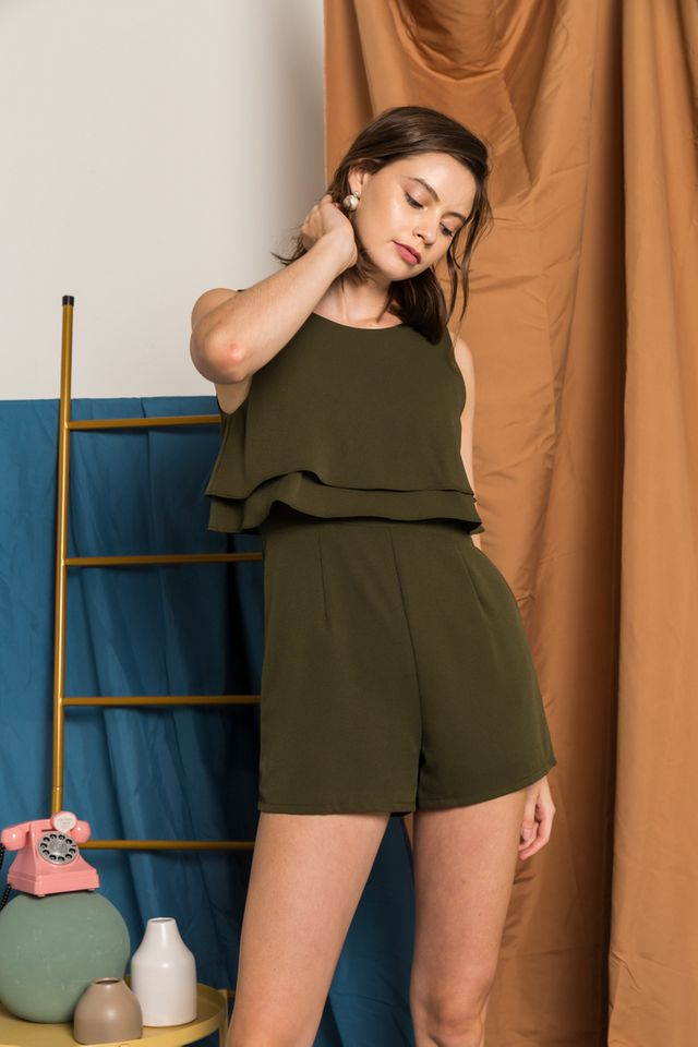 Vada Overlay Ruffles Romper in Olive (XL)