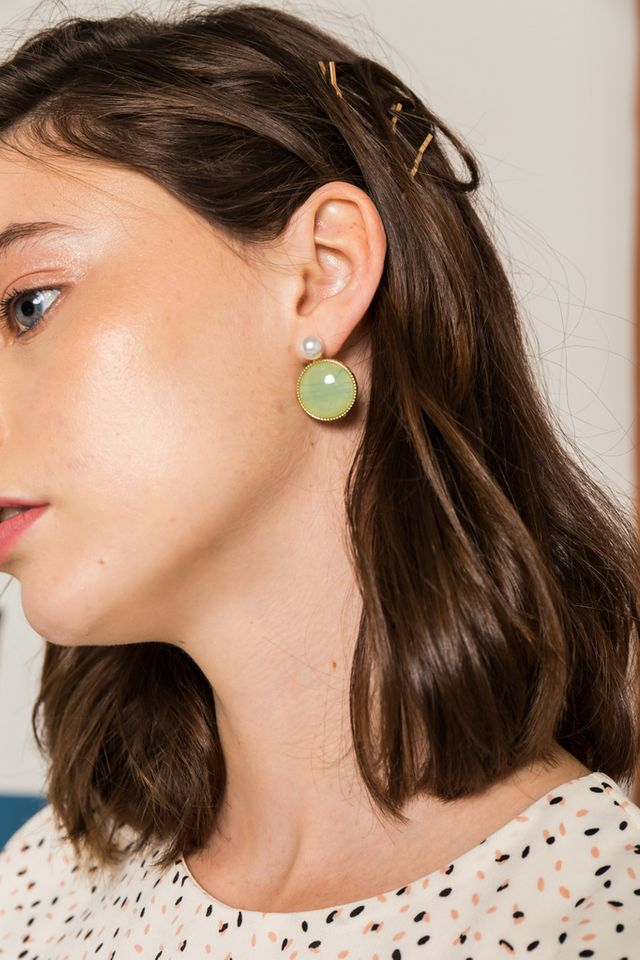 Inez Vintage Earrings in Green