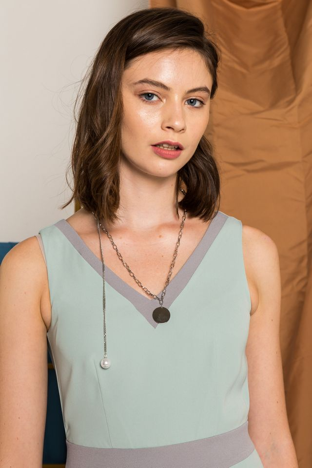Ashy Disc & Pearl Chain Necklace