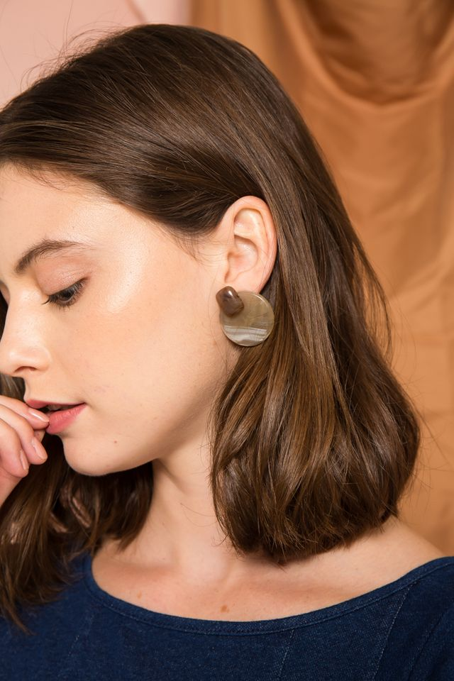 Soma Marble Earrings in Brown