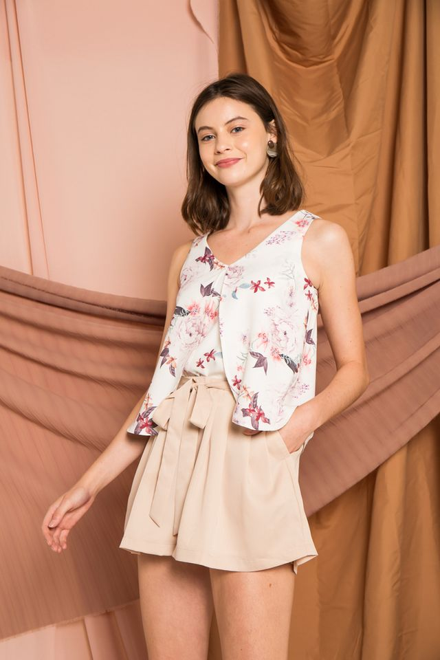 Nemy Floral Layered Top in White