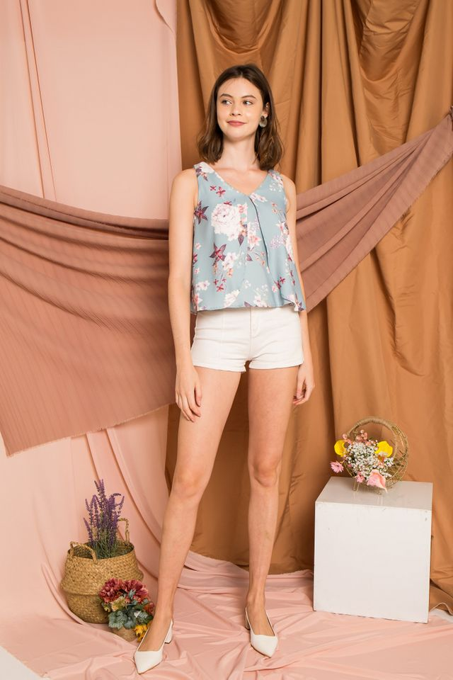 Nemy Floral Layered Top in Mint